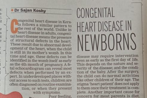What is Congenital heart disease that is prevailing in Kerala?